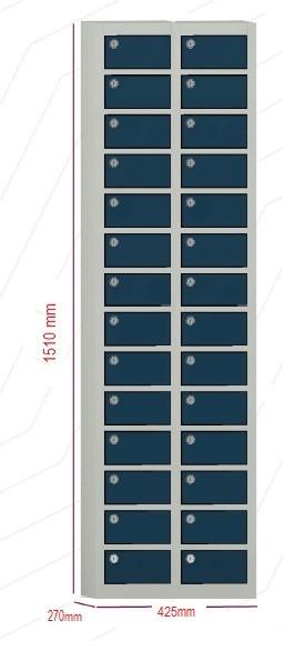 Porta objetos - 28 portas sobrepostas com FECHADURA  -  1510mm alt  X 425 mm larg X 270 mm prof