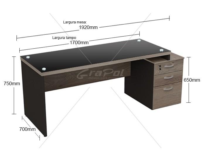 Mesa Reta - Tampo em Vidro 4mm - Pé Painel - Com Gavetas - MDP 40mm - 1700mm x 700mm x 750mm -