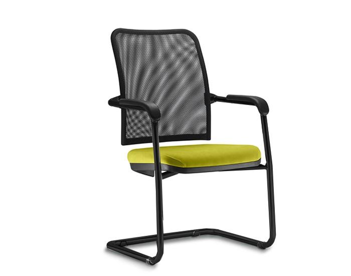Cadeira Fixa SOU050 - Encosto em Tela - Base SKL Preta - Linha SOUL- Com Braço - Frisokar