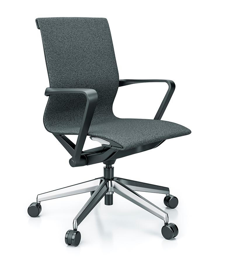 Cadeira para escritório giratória 44102 Auto Regulável - Linha Aura - Braço - Estrutura Preta - Cavaletti - Base Alumínio