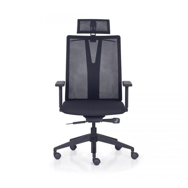 Cadeira Para Escritório Giratória Presidente- Addit Alta  - Mecanismo Syncron - Apoio de Cabeça - Porta Paletó -  Base Piramidal Nylon - Linha Addit - Com Braço - Frisokar -