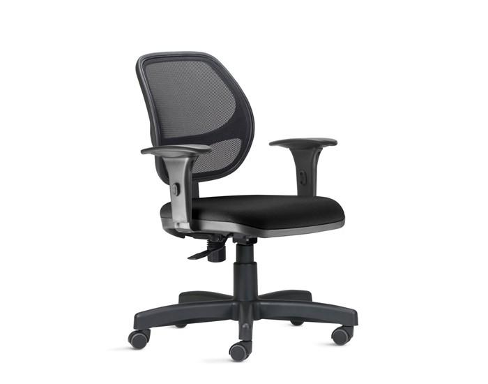Cadeira Para Escritório Diretor Giratória JOBT921 - Mecanismo Standard- Encosto em Tela - Base Metálica com Capa - Linha Job - Com Braço - Frisokar