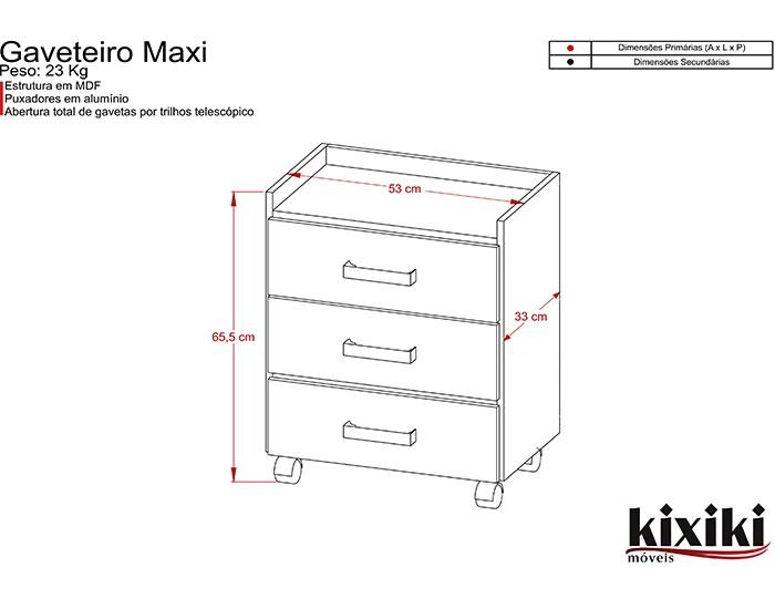 Gaveteiro Maxi - 03 Gavetas - Com Rodízios - Kixiki Móveis -