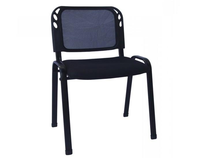 Cadeira Fixa - Empilhável - Encosto em Tela -  Base Preta - Sem Braço - Pelegrin