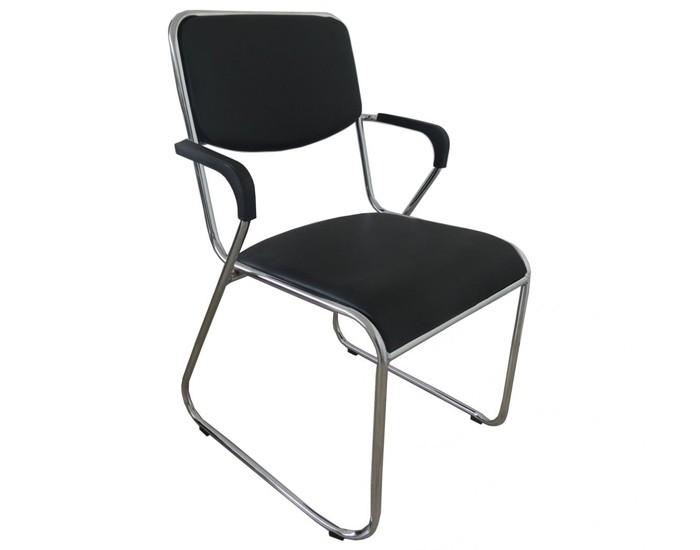 Cadeira Fixa - Base Cromada - Com Braço - Pelegrin
