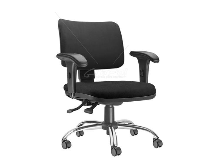 Cadeira Para Escritório Diretor Giratória ZIP206 - Mecanismo Evolution - Encosto Estofado- Base Cromada Semiarcada - Linha ZIP - Com Braço PP - Frisokar