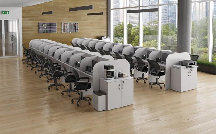 Módulo Call Center 3060mm x 600mm x 1150mm - 3 Lugares -