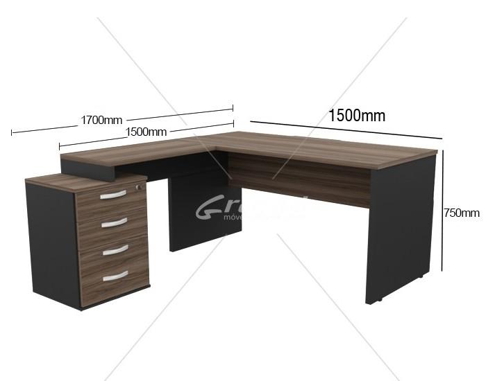 Mesa em L com Auxiliar Pedestal - 4 Gavetas - MDP 25mm - 1500mm x 1700mm x 750mm -