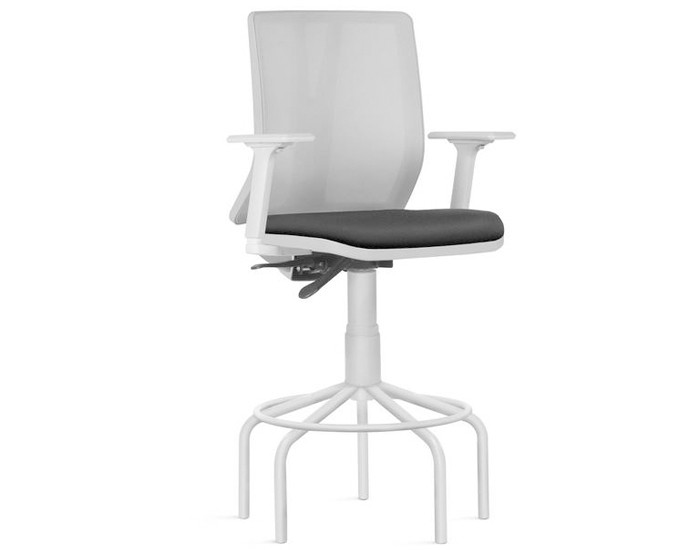 Cadeira Fixa Caixa KADD84 - Estrutura Cinza - Mecanismo Evolution - Base Pedestal Fixa - Linha Addit - Com Braço - Frisokar