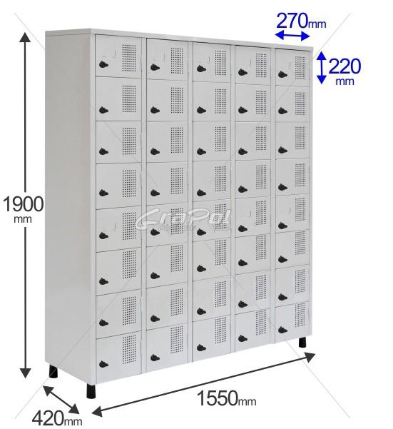 Roupeiro Para Vestiário RGRSP 40 Portas - Com Fecho Porta-Cadeado - RCH