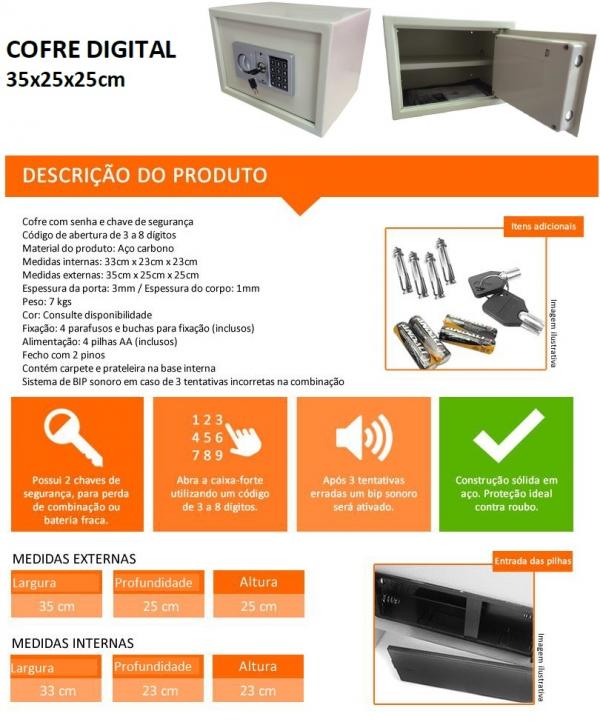 Cofre Digital com Prateleira Interna - Altura 250 mm x Profundidade 250 mm x Largura 350 mm -