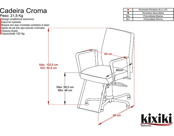 Cadeira Croma - Encosto Fixo - Sem Cabeçote -