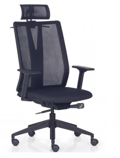 Cadeira Para Escritório Giratória Presidente- Addit Alta  - Mecanismo Syncron - Apoio de Cabeça - Porta Paletó -  Base Piramidal Nylon - Linha Addit - Com Braço - Frisokar