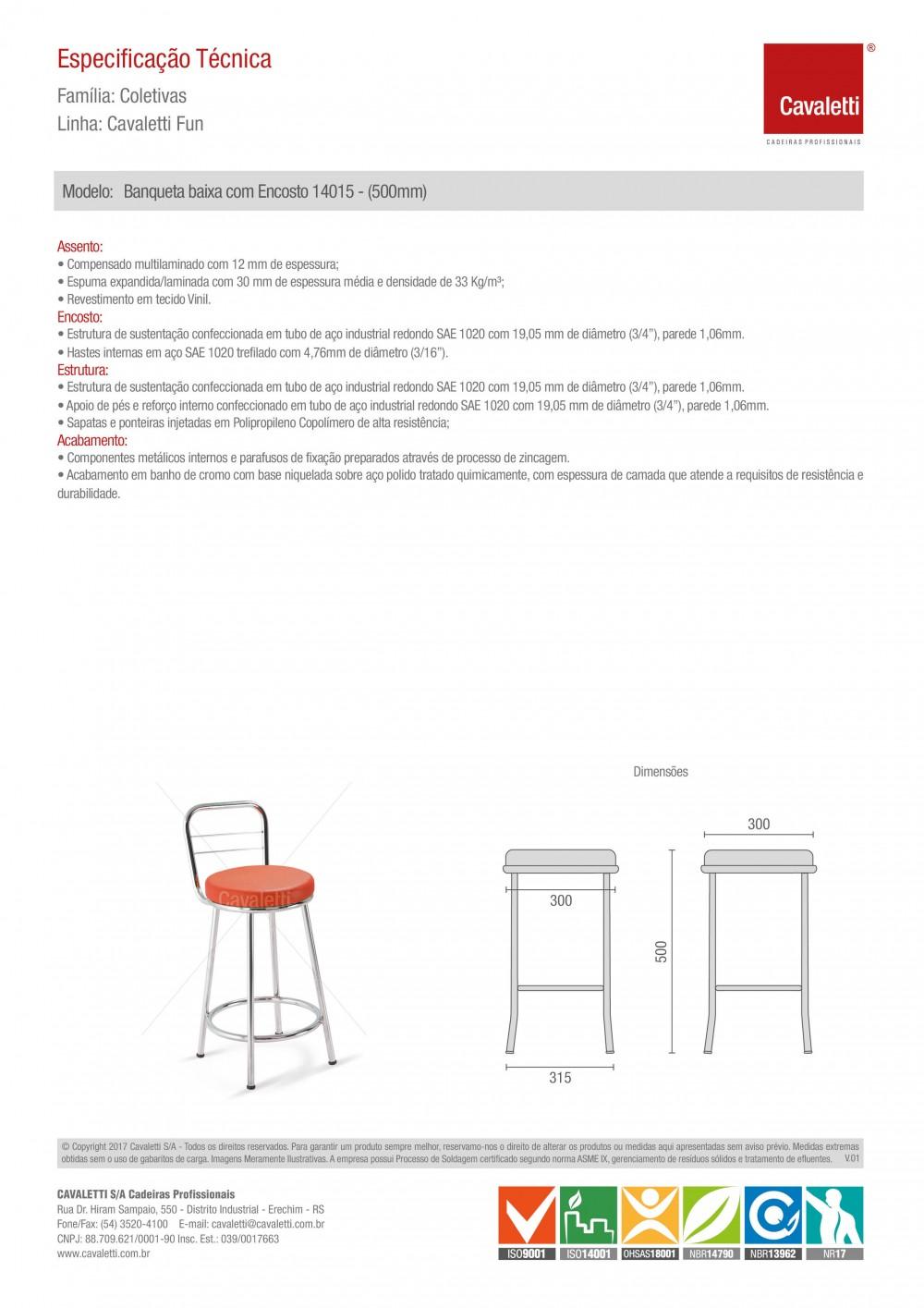 Banqueta / Banco - com encosto 14015 - 500mm Altura - Baixo - Linha Fun - Cavaletti -