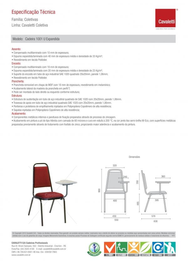 Cadeira Aproximação 1001 - Com prancheta - Espuma Expandida - Linha Coletiva - Cavaletti -