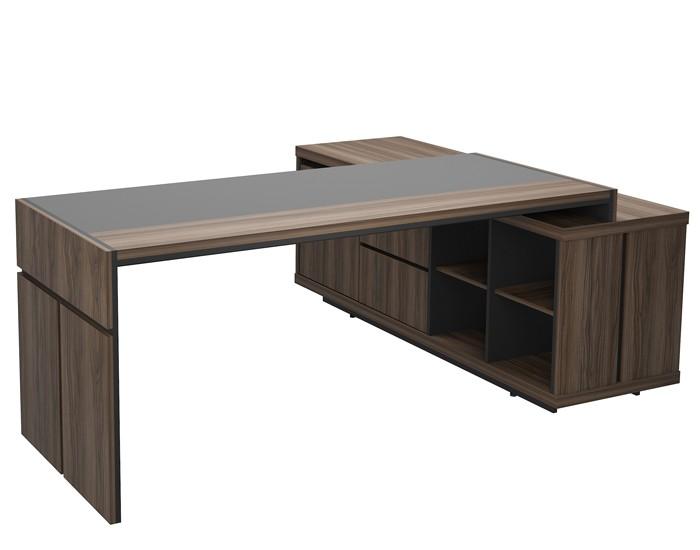 Conjunto de mesa em L para escritório tampo com detalhe em vidro - Linha Prime - Com balcão auxiliar lado direito/esquerdo.