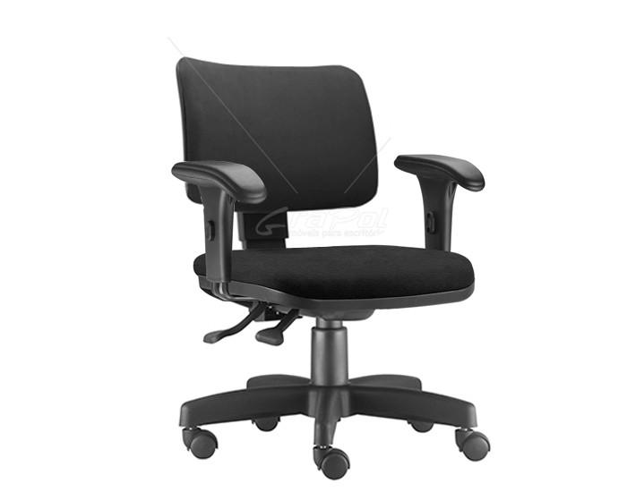 Cadeira Para Escritório Diretor Giratória ZIP259 - Mecanismo Evolution - Encosto Estofado - Base Metálica com Capa - Linha ZIP - Com Braço PP - Frisokar