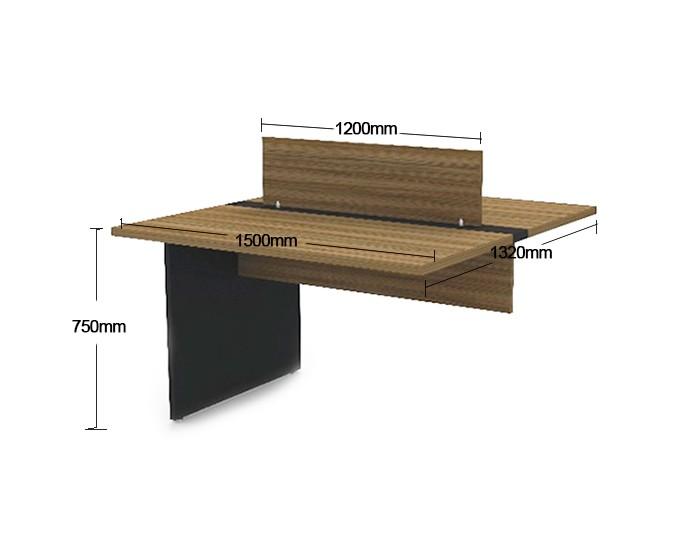 Mesa Componível Complemento com 2 Lugares. 1 Lugar + 1 Lugar Frente a Frente - 1500mm X 1320mm X 750mm - Tampo MDP 25mm