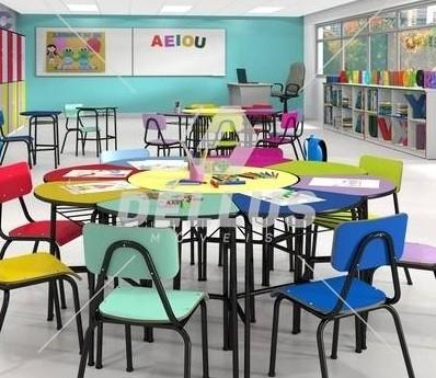 Conjunto de mesas e cadeiras MARGARIDA, OITAVADO INFANTIL - Colorido -  (1 à 5 anos)  -
