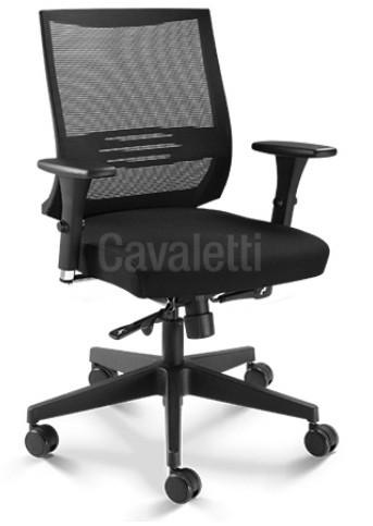 Cadeira para escritório giratória 27001 - Mecanismo Syncron com Regulagem de Profundidade - Linha Air - Braço 3D - Cavaletti - Base Nylon