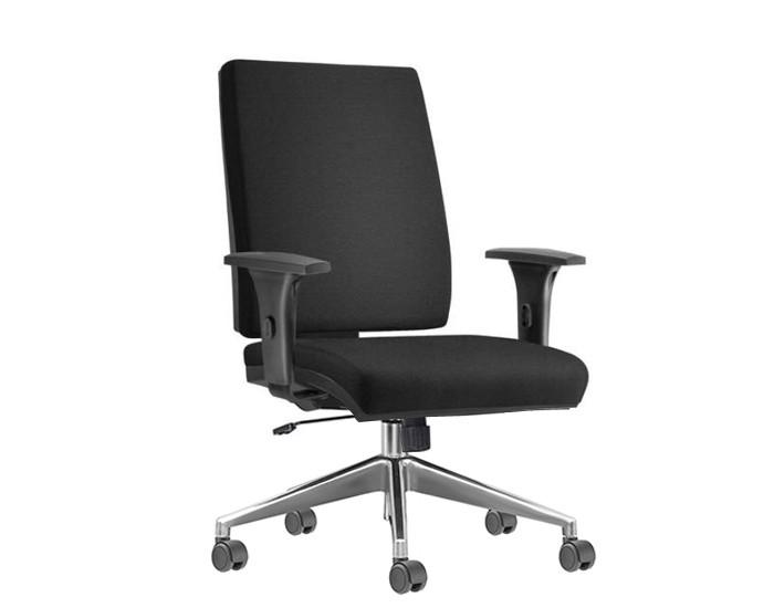 Cadeira para Escritório Presidente Giratória SIM079 - Mecanismo Relax - Base Alumínio - Com Braço - Rodízio PP - Linha Simple - Frisokar