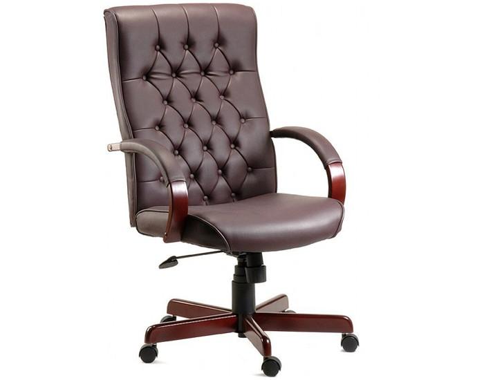 Cadeira Presidente - Com Capitonê - Relax -  Base de Madeira - Pelegrin