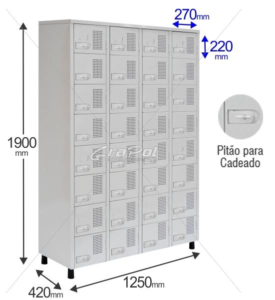 Roupeiro Para Vestiário RGRSP 32 Portas - Com Pitão para CADEADO -  RCH