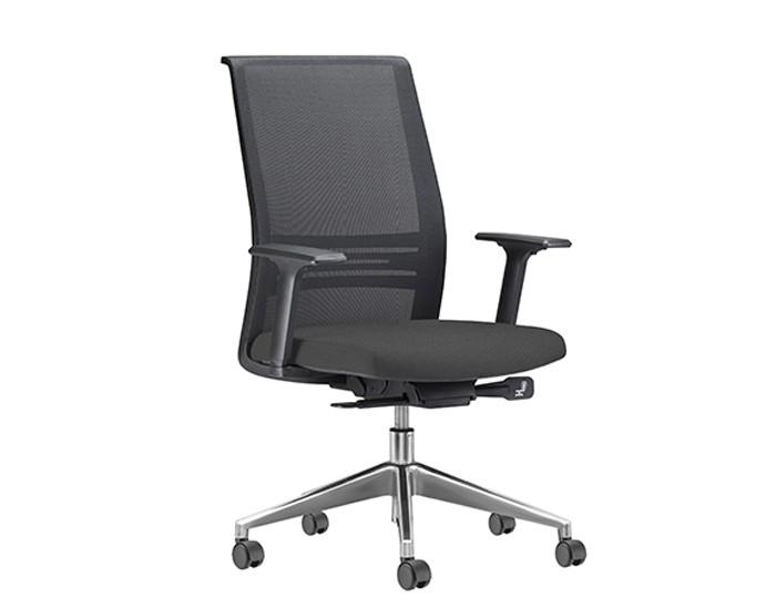 Cadeira para Escritório Presidente Giratória KAGI5 - Mecanismo Sincron - Base Alumínio - Apoio Lombar - Com Braço - Rodízio PP - Linha Agile - Frisokar