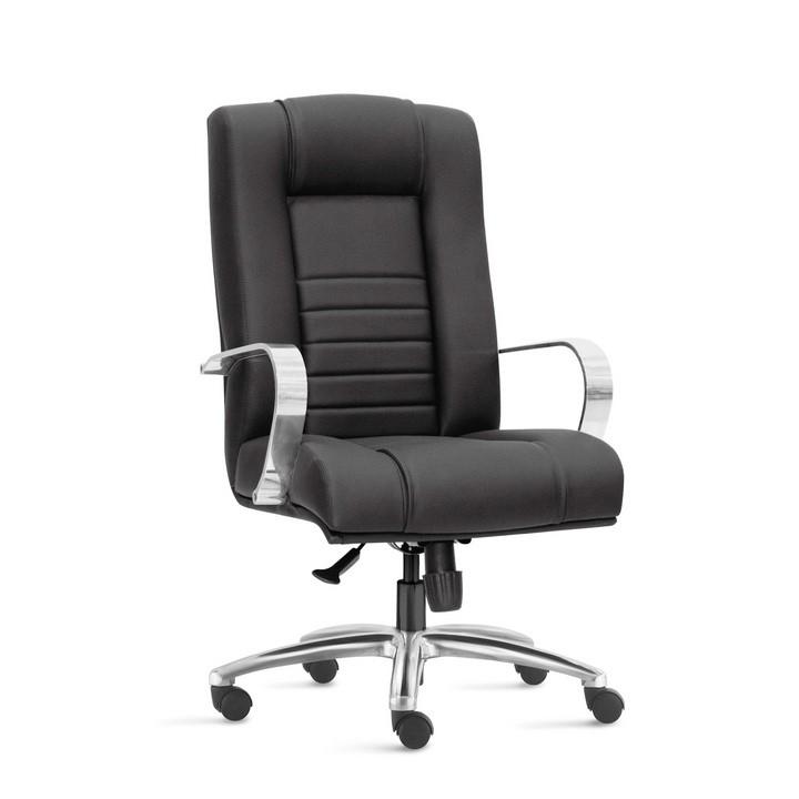 Cadeira para Escritório Presidente Giratória ONI011- Mecanismo Sincron - Base Semi-Arcada em Alumínio - Com Apoio de Cabeça -  Com Braço - Linha New Onix - Frisokar