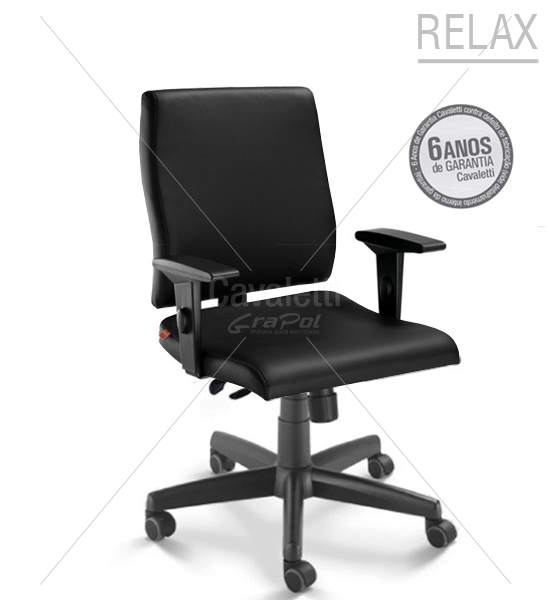 Cadeira para escritório giratória diretor 18002 RELAX - Linha Slim - Braço SL - Cavaletti - Base Polaina