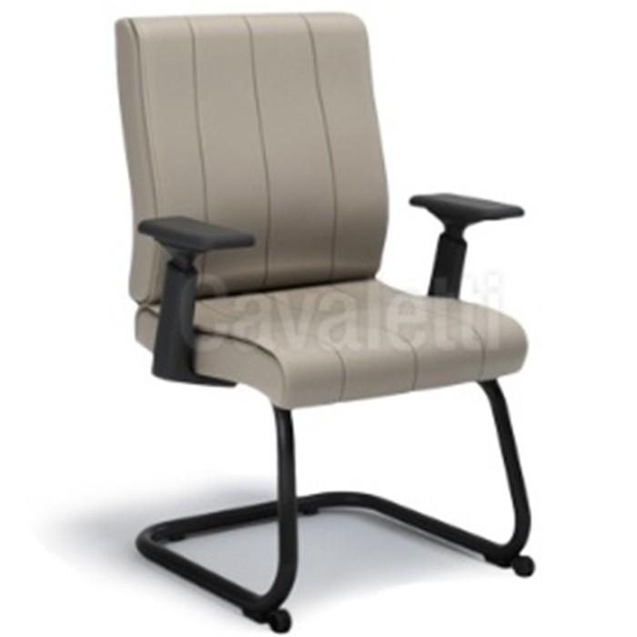 Cadeira para escritório fixa aproximação 20506 S Braço 4D - com rodízios frontais - Linha Essence - Cavaletti - Estrutura Preta