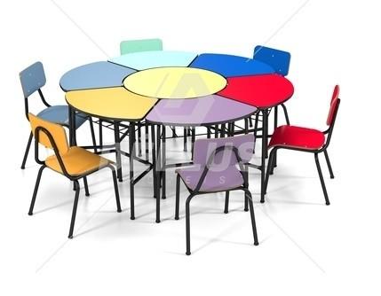 Conjunto de mesas e cadeiras DANÚBIO - SEXTAVADO INFANTIL (1 à 5 anos) Colorido