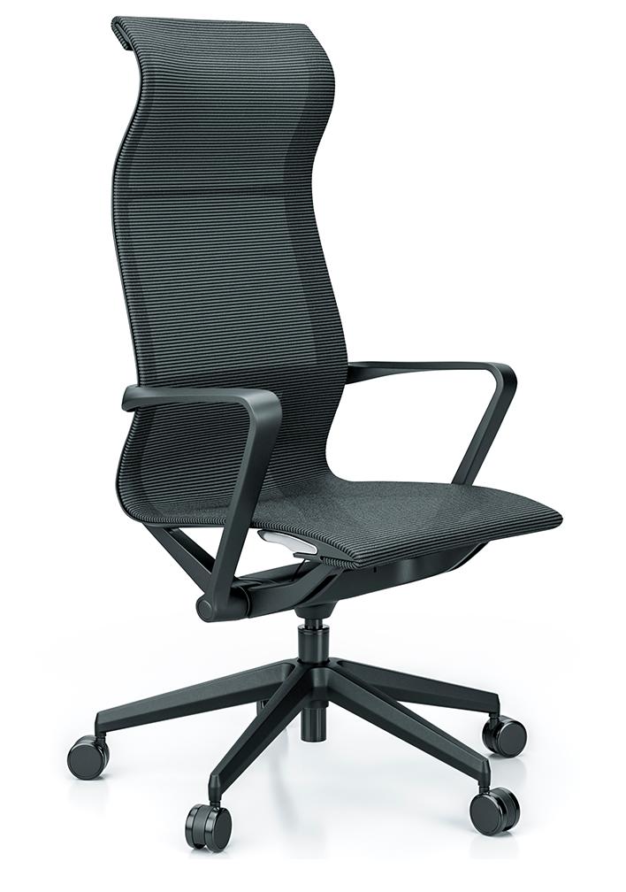 Cadeira para escritório giratória presidente 44101 Auto Regulável - Linha Aura - Braço - Estrutura Preta - Cavaletti - Base Nylon Preta