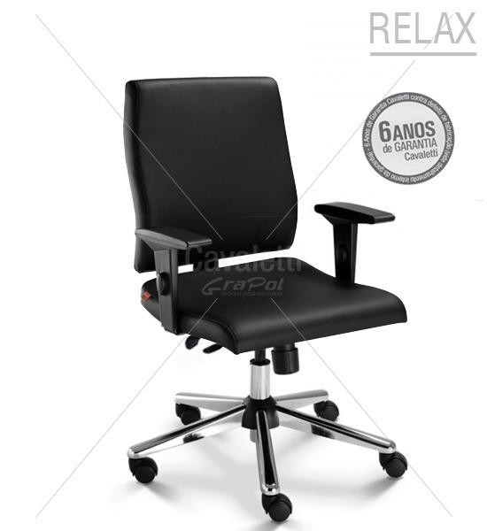 Cadeira para escritório giratória diretor 18002 - RELAX - Linha Slim - Cavaletti - Base Estampada Cromada