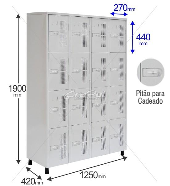 Roupeiro Para Vestiário RGRSP 16 Portas - Chapa 24 - Com Pitão para CADEADO - RCH