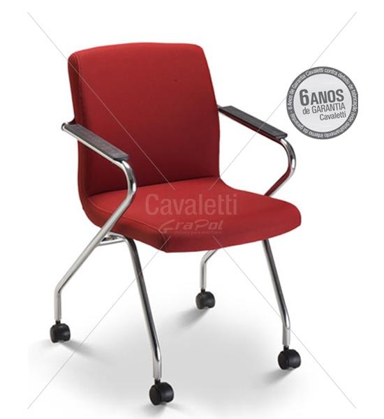 Cadeira para escritório com rodízio 18006 Z - Linha Slim - ESTRUTURA CROMADA - Cavaletti