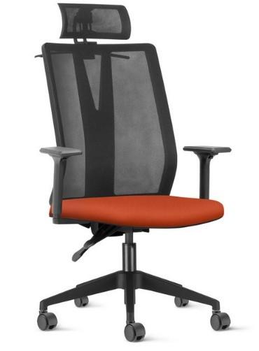 Cadeira Para Escritório Giratória Presidente- Addit Alta  - Mecanismo Evolution (Back System) - Apoio de Cabeça - Porta Paletó -  Base Piramidal Nylon - Linha Addit - Com Braço - Frisokar