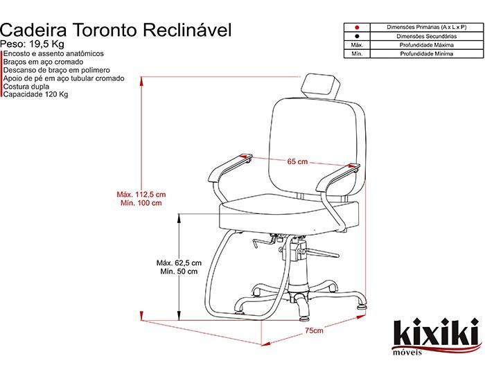 Cadeira Toronto - Encosto Fixo - Com Cabeçote - Kixiki Móveis -