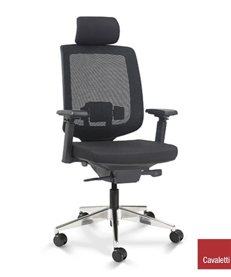 Cadeira para escritório giratória presidente 28001 AC - Syncron - Linha C3 - BRAÇO 4D - Cavaletti - Base Alumínio