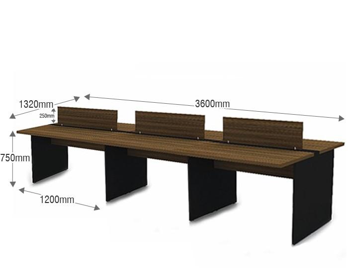 Plataforma de Trabalho com Total de 6 Lugares. 3 Lugares + 3 Lugares Frente a Frente - 3600mm X 1320mm X 750mm  25mm