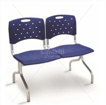 Conjunto Cadeira Auditório longarina 35010 2L - ESTRUTURA CROMADA - Linha Viva - Cavaletti