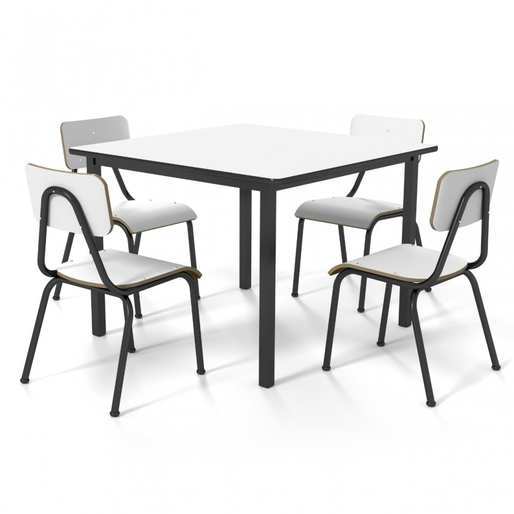 Conjunto de mesa infantil (1 à 5 anos) - 1 mesa + 4 Cadeiras -  Branco ou Bege -  Dellus