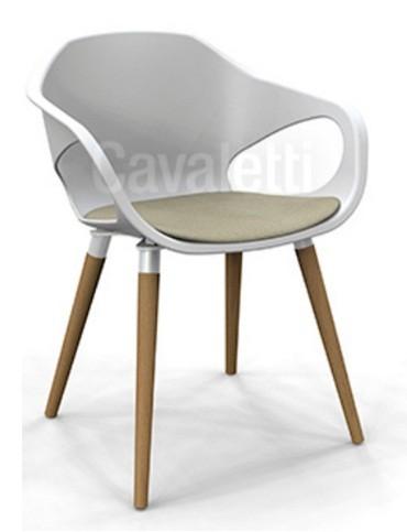 Cadeira para escritório fixa aproximação 33206 Palito - Concha c/ Estofado no Assento - Pés em Madeira - Linha Stay - Cavaletti
