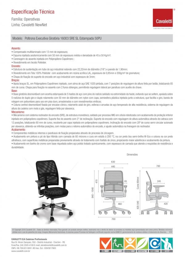 Cadeira para escritório executiva giratória 16003 SRE - Linha NewNet - Braço SL - Cavaletti - Base Estampada Cromada -