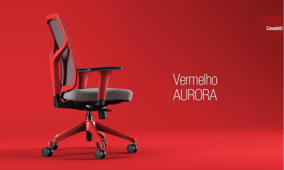 Cadeira Giratória Executiva YON,  47301 SRY, Encosto em  TELA VÉLO c/ Regulagem de Altura, Aranha UP VERMELHO AURORA, Rod. 65 Nylon, Braço MC Vermelho Aurora -