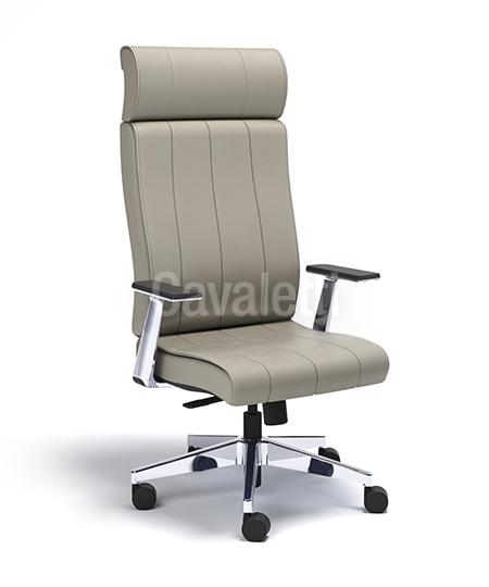 Cadeira para escritório giratória presidente 20501 - Syncron - Linha Essence - BRAÇO ALUMINIO - Cavaletti - Base Alumínio
