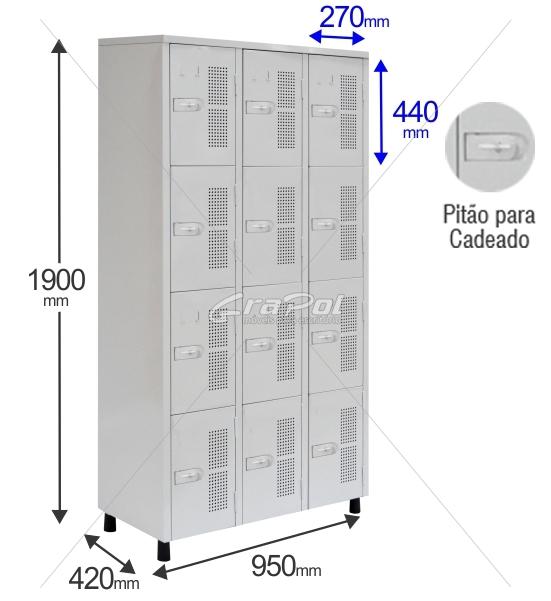 Roupeiro Para Vestiário RGRSP 12 Portas - Com Pitão para CADEADO - RCH