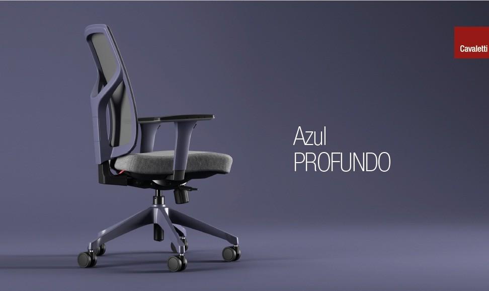 Cadeira Giratória Executiva YON,  47301 SRY, Encosto em  TELA VÉLO c/ Regulagem de Altura, Aranha UP AZUL PROFUNDO, Rod. 65 Nylon, Braço MC Azul Profundo -
