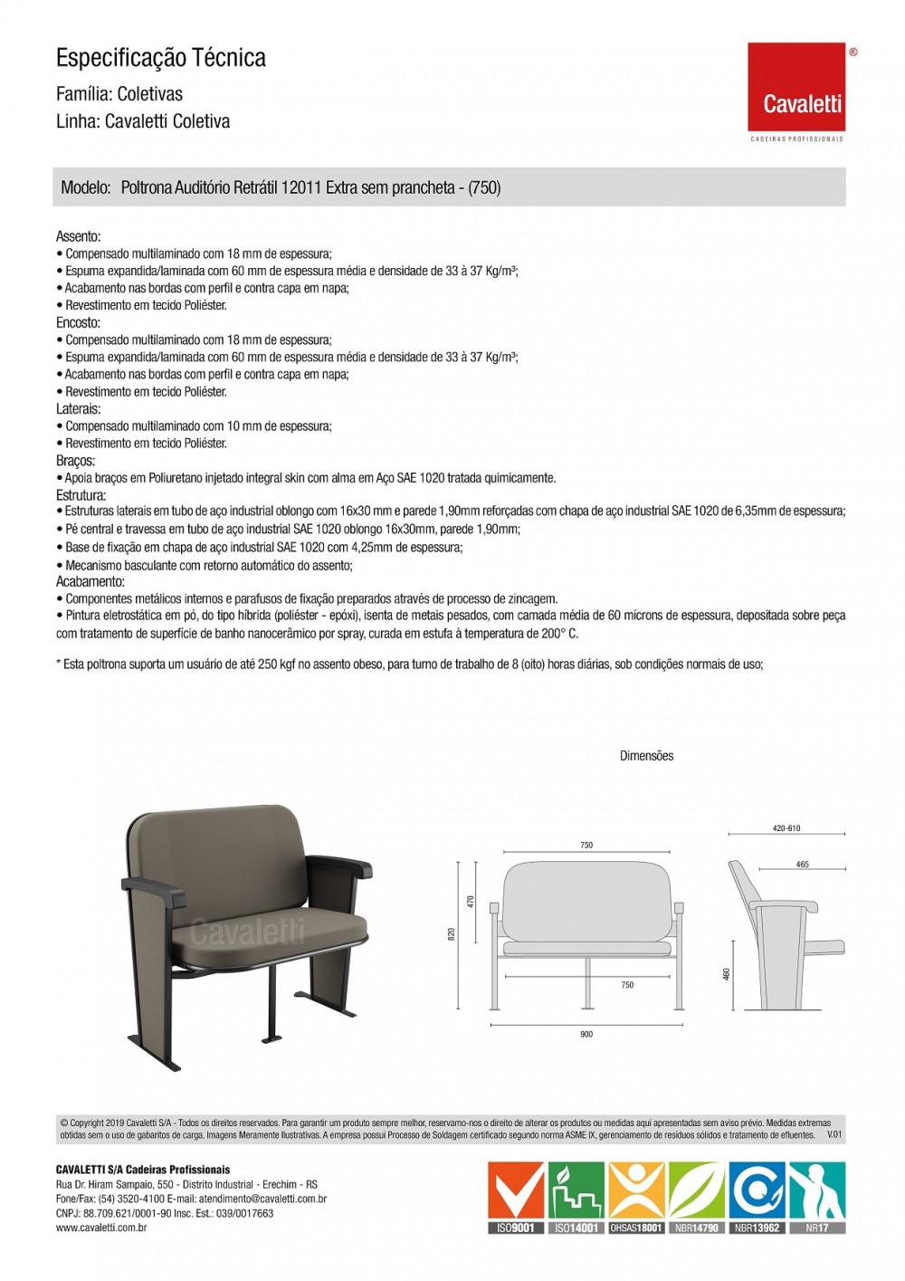 Poltrona Auditório12011 Extra (250 Kg) Retrátil -  Linha Coletiva - Cavaletti -