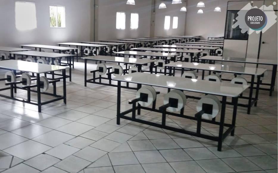 Mesa para refeitório com banco escamoteável 6 lug. MDF 15mm - Dellus -